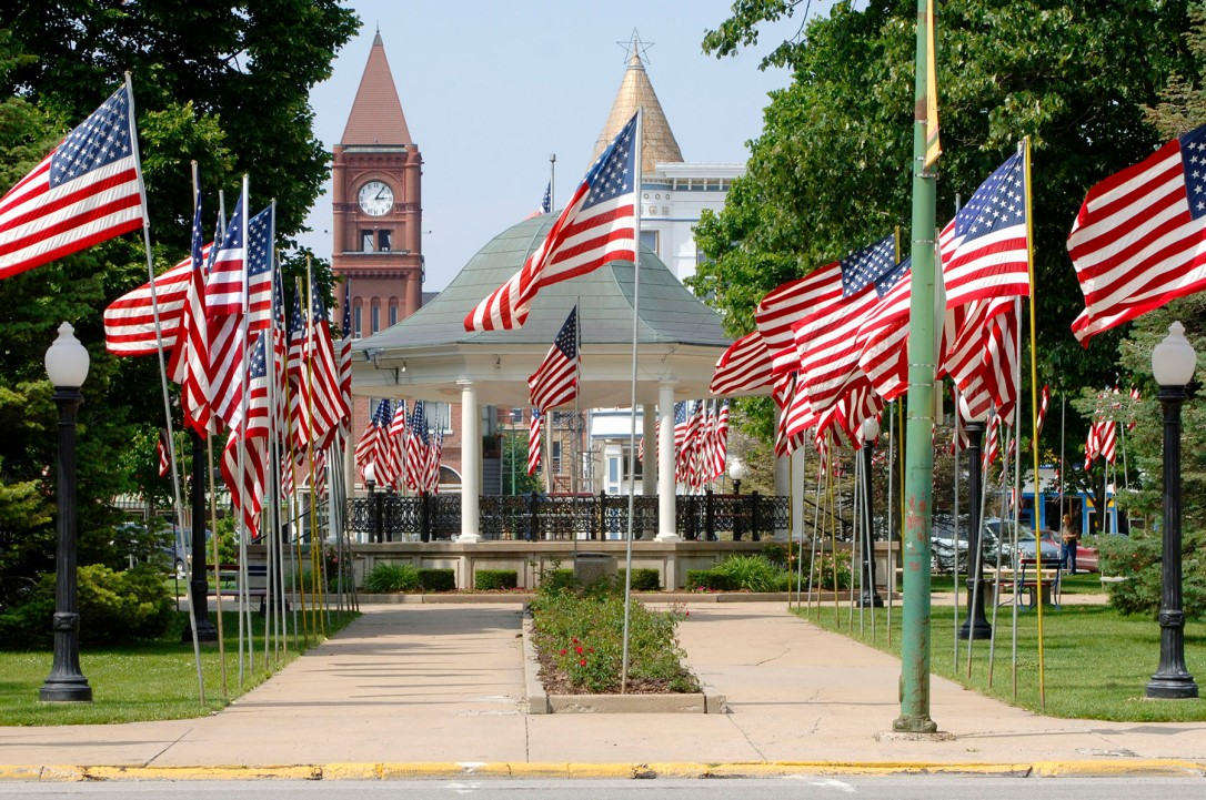 flags fly in the park